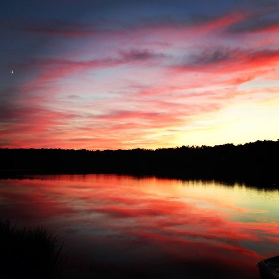 Sliver Moon Red Sunset Tranquility Sky Water Tranquil Scene Beauty In Nature Scenics - Nature Lake Reflection Cloud - Sky Orange Color Romantic Sky Dramatic Sky Sunset
