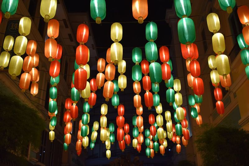 Large Group Of Objects Illuminated Lantern Repetition In A Row Chinese Lantern Abundance Lighting Equipment Chinese Lantern Festival No People Multi Colored Night Celebration Hanging Outdoors Sky