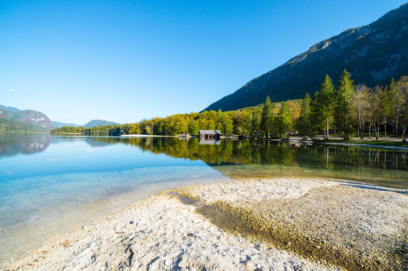 Nature Sky Day Bohinjsko Jezero Water Mountain Beauty In Nature Scenics - Nature Lake Tranquil Scene Tranquility Plant Tree Clear Sky No People Reflection Blue Copy Space Idyllic Architecture Outdoors