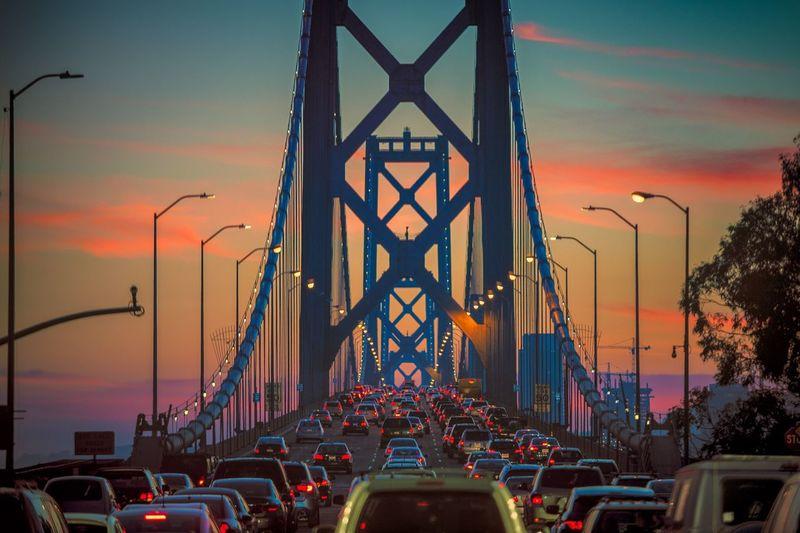 Rush hour traffic on bay bridge at twilight