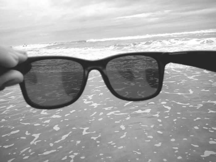 Taking Photos Beach Rayban Blackandwhite