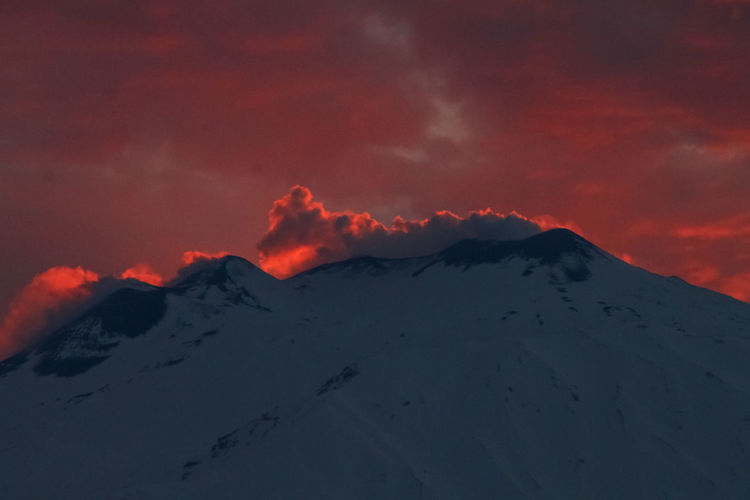 Mountain Sky Beauty In Nature Scenics - Nature Cloud - Sky Sunset Tranquil Scene Tranquility Snow Cold Temperature No People Landscape Environment Winter Nature Volcano Non-urban Scene Idyllic Snowcapped Mountain Mountain Peak Outdoors Power In Nature