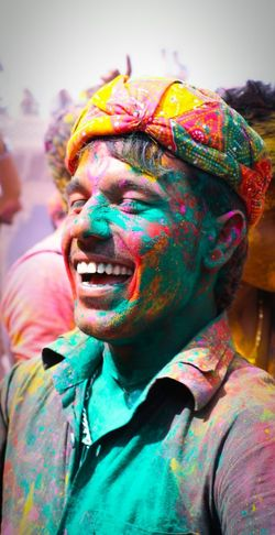 Enjoy The New Normal the way people enjoy in the festival of colors in India can be seen from the expressions of his joy. Finding New Frontiers i met him in vrindavan, india. he was enjoying the festival with so intense happiness and joy. Uniqueness EyeEm Diversity EyeEm Diversity The Street Photographer - 2017 EyeEm Awards #FREIHEITBERLIN Modern Hospitality The Photojournalist - 2018 EyeEm Awards The Photojournalist - 2018 EyeEm Awards