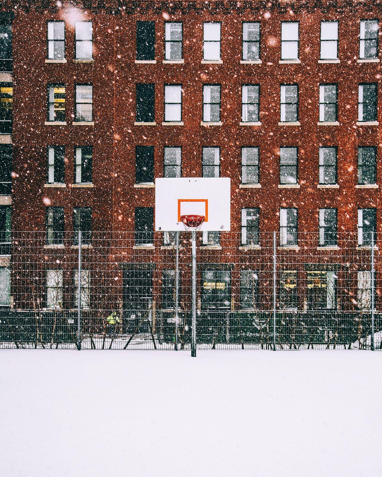 Basketball hoop in winter