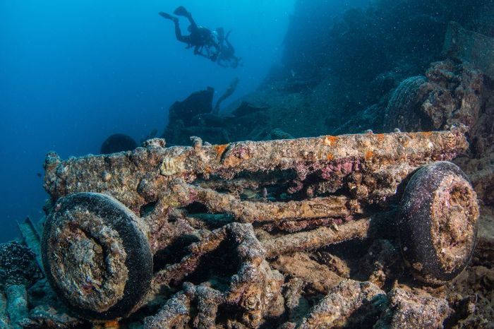 At the wreck of the SS Thistlegorm Underwater Thistlegorm SCUBA Scuba Diving Sea Underwater Scuba Diving UnderSea Water Adventure Aquatic Sport Sea Life Ship