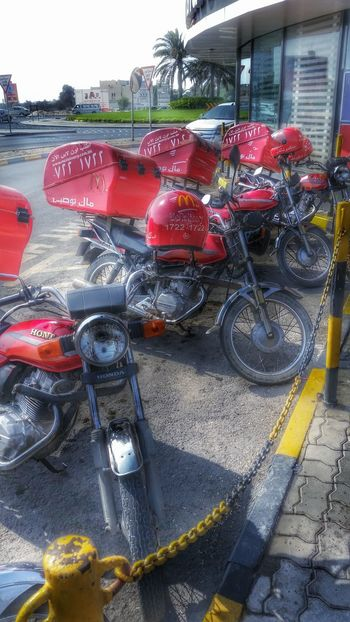 A year ago in Dammam. Transportation Mode Of Transport City Life Motorcycle Motor Food And Drink Macdonald's Eating Out Hot Day Bahrain Manama