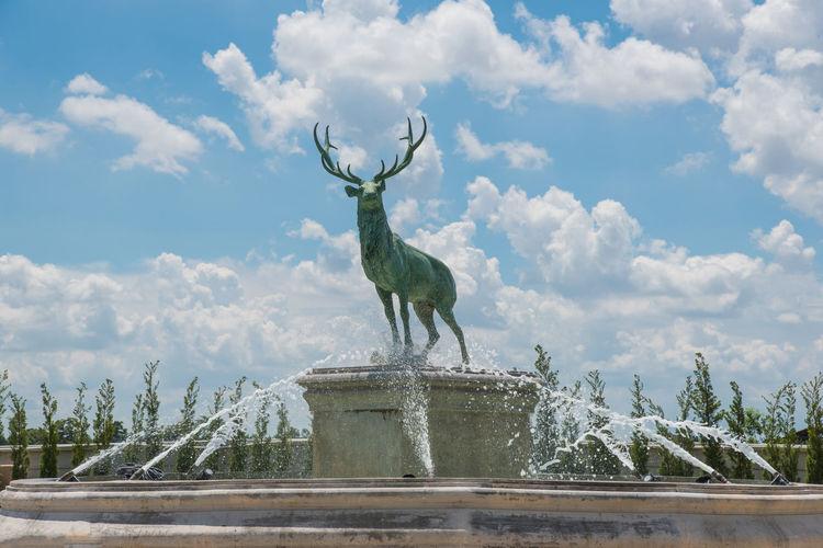 Animal Themes Beautiful Animals  Beauty In Nature Cloud Cloud - Sky Deer Deer Park Deer Statue Mammal Park Sky Water