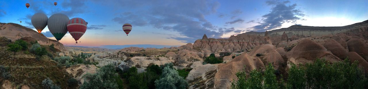 Sunrise Turkey Capadoccia Panorama Hot Air Balloons Göreme Rock Formation Mountain Rock - Object Sky Beauty In Nature Scenics Nature Panoramic Landscape Adventure Outdoors Day No People