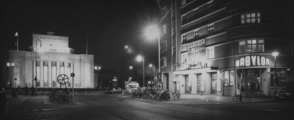 Architecture Berlin Love Black & White EyeEmNewHere The Week On EyeEm Volksbühne Architecture Black And White Blackandwhite Blackandwhite Photography Building Building Exterior Buildings Built Structure City Illuminated Night No People Outdoors Sky Street Street Photography Streetphotography Black And White Friday #FREIHEITBERLIN