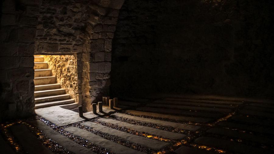 Illuminated Steps At Ancient Fort