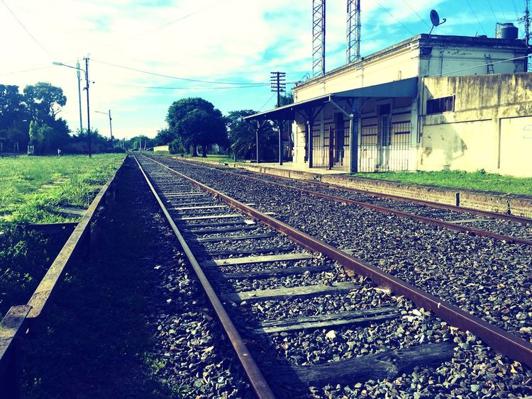 Railroad Track Architecture Building Exterior Sky Outdoors Day Grass Nature No People Train Station Bs.As. Travelling Travel Worldtour