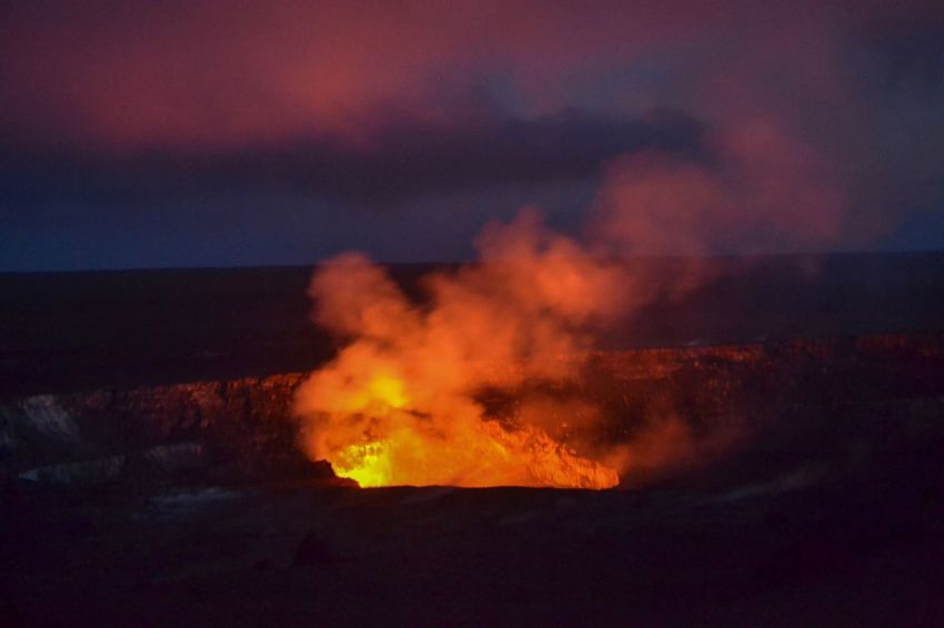 Hawaiian volcano crater Smoke Crater Volcano Flame Burning Night Heat - Temperature Glowing Sky Danger Outdoors No People Scenics Power In Nature Close-up Lava Beauty In Nature Nature