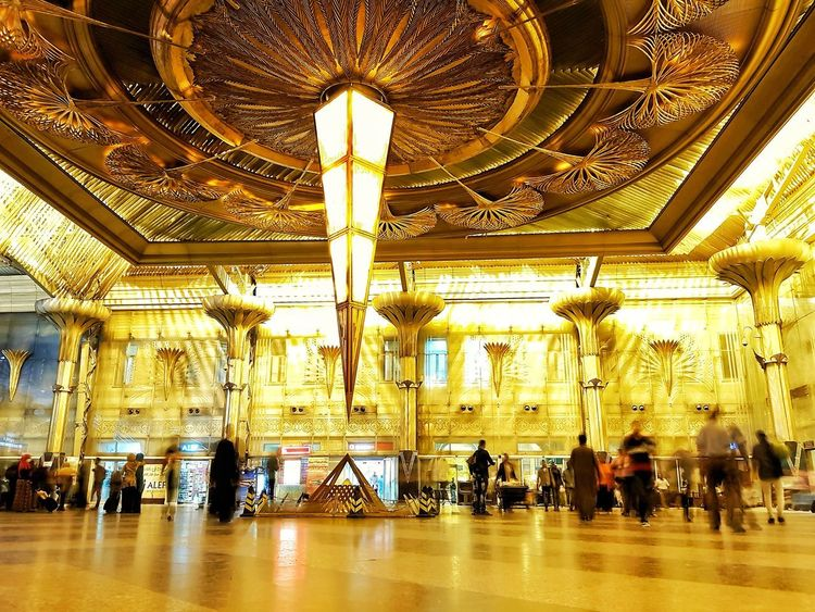 Indoors  Ceiling Architecture Built Structure Travel Illuminated Day No People Architecture Motion Travel Egypt Cairo Long Exposure Egyptphotography Egyptdailylife égypte Ägypten  Egypt Egyptian Lover Egypt Train Station Galaxys8plus