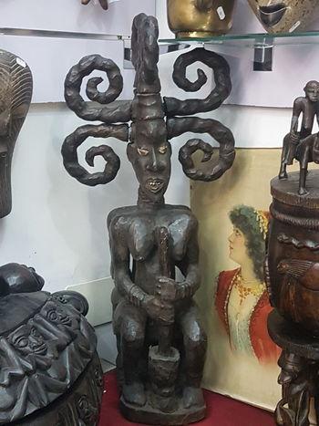 Woman En Bois Wood Sculpture Art Africain Camerun