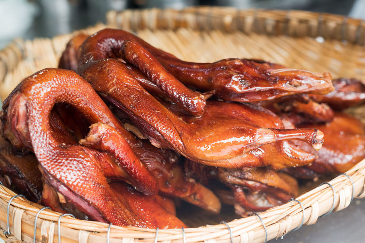 Peking duck in a basket, Chengdu, China Basket China Close-up Food Food And Drink Freshness Healthy Eating Indoors  Meat No People Peking Duck