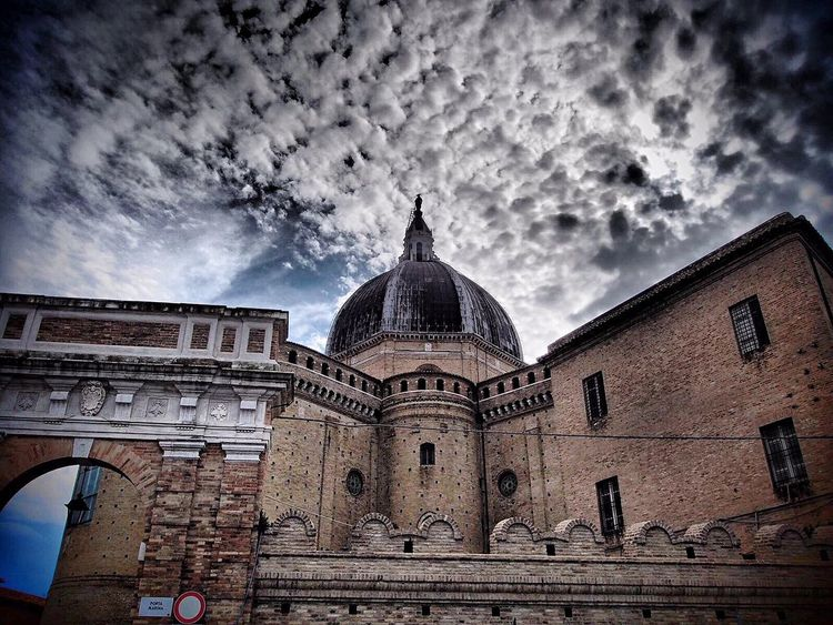 Architecture Built Structure Building Exterior Dome Cloud - Sky Religion Sky Low Angle View Place Of Worship Travel Destinations Spirituality Outdoors No People Day City Loreto Marche