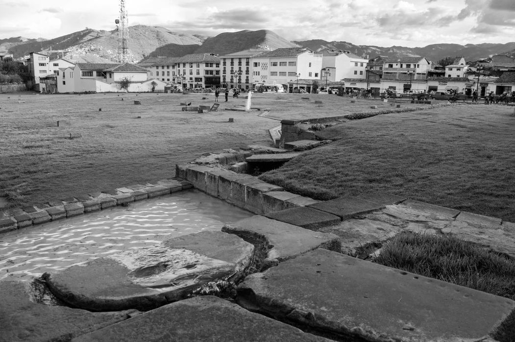 Backyard Black And White Coricancha Cusco, Peru Fontain Water Water Flow Yard