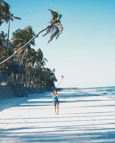 Full Length Vacations Water Outdoors One Person Beach Jumping Day Young Adult Nature Adult Tree Sea Sand Zanzibar Zanzibarisland Zanzibar Hotel Paje Kitesurf Zanzibar_Tanzania Palm Tree Clear Sky