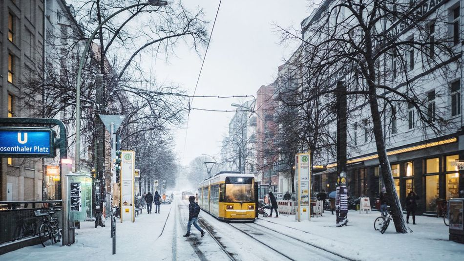 Snow / Tram – January 2017 Tram Tracks Yellow Bvg Tram Transportation Winter Cold Temperature Snow Land Vehicle Mode Of Transport Public Transportation City City Life Bare Tree City Street Street Weather Architecture Outdoors Tree