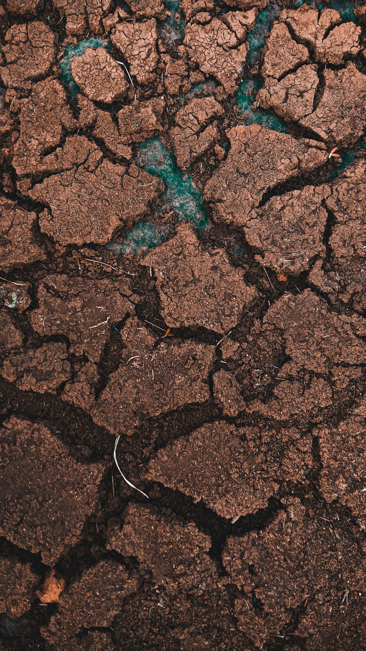 HIGH ANGLE VIEW OF CRACKED LAND ON COBBLESTONE