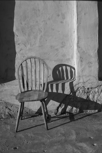 Blackandwhite Seat Chair Empty Shadow Table Day Absence No People High Angle View Wood - Material