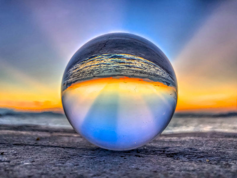 EyeEm Best Shots EyeEm Nature Lover EyeEm Gallery EyeEmNewHere HongKong Beauty In Nature Close-up Cloud - Sky Crystal Ball Eye Focus On Foreground Horizon Land Nature No People Orange Color Outdoors Scenics - Nature Shape Single Object Sky Sphere Sunset Tranquil Scene Tranquility