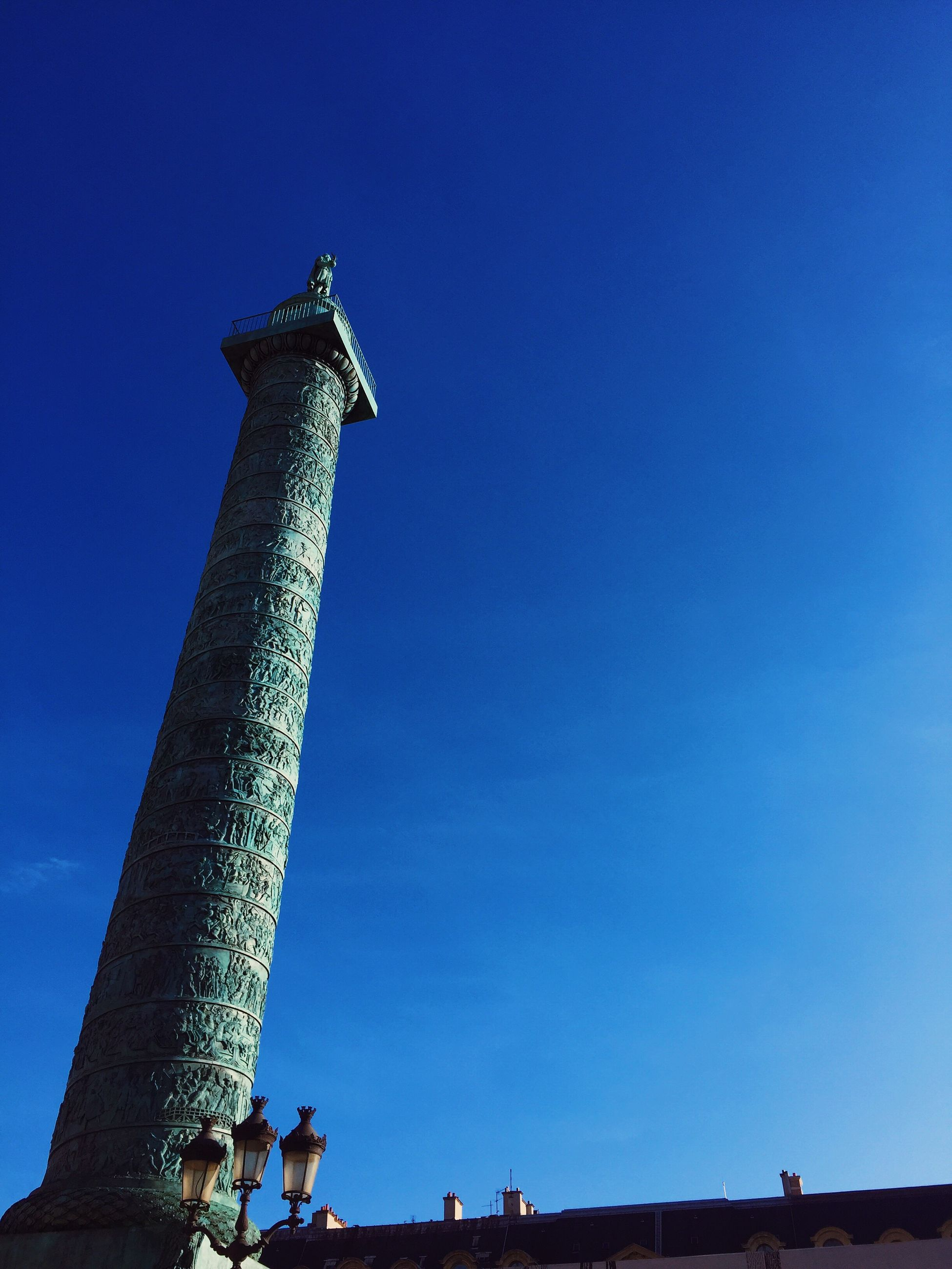 blue, low angle view, sky, built structure, architecture, outdoors, no people, day