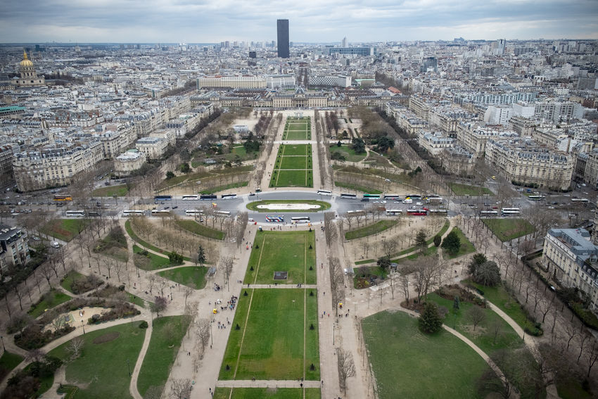 Eiffel Tower Montparnasse Tower, Paris France Paris, France  Aerial View Cityscape Outdoors Park Travel Destinations View From Eiffel Tower