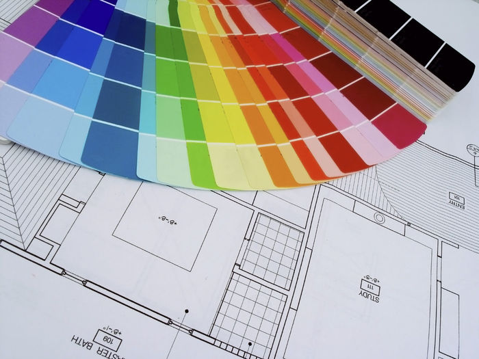color wheel on house plans Archetecture Do It Yourself Home Improvement Architecture Blueprint Close-up Color Swatch Color Wheel Colorful Creativity Design House Painting Indoors  Interior Design Multi Colored No People Paper Pattern