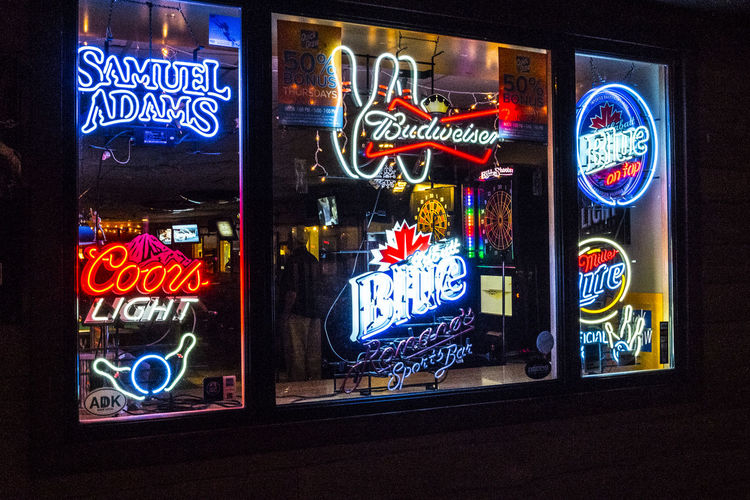 Outside the Bowling Alley - Bright neon lights and signs of Downtown Saranac Lake Beer Signs Bowling Alley Choice Large Group Of Objects Multi Colored Neon Neon Color Neon Lights Neon Sign Neonlights Sign Store Symbol Text