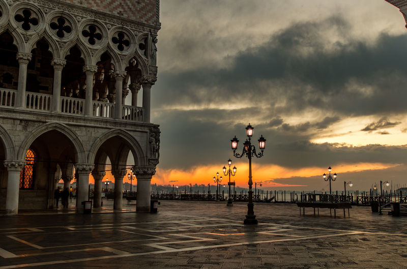 Arch Architecture City Cloud - Sky Cold Dawn Dawn Of A New Day Day Doge's Palace History No People Outdoors Sculpture Sky Statue Sunrise Sunset Travel Travel Destinations Vacations Venice Venice, Italy Winter Yellow