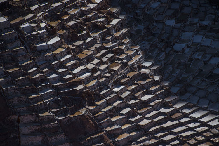 High angle view of stones on footpath