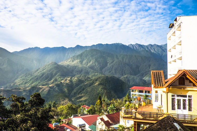 Sa Pa city, Vietnim Mountain Architecture Building Exterior Built Structure Building Nature Mountain Range Tree Scenics - Nature Sky Beauty In Nature Plant Day Cloud - Sky Roof Sa Pa, Vietnam