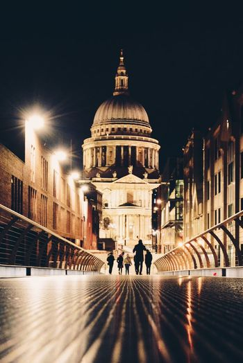 Architecture Dome Building Exterior Built Structure City Travel Destinations Real People Blurred Motion Night Men Illuminated Outdoors Sky People Travel London Mood Captures Moodygrams Saint Paul's Cathedral Postcode Postcards