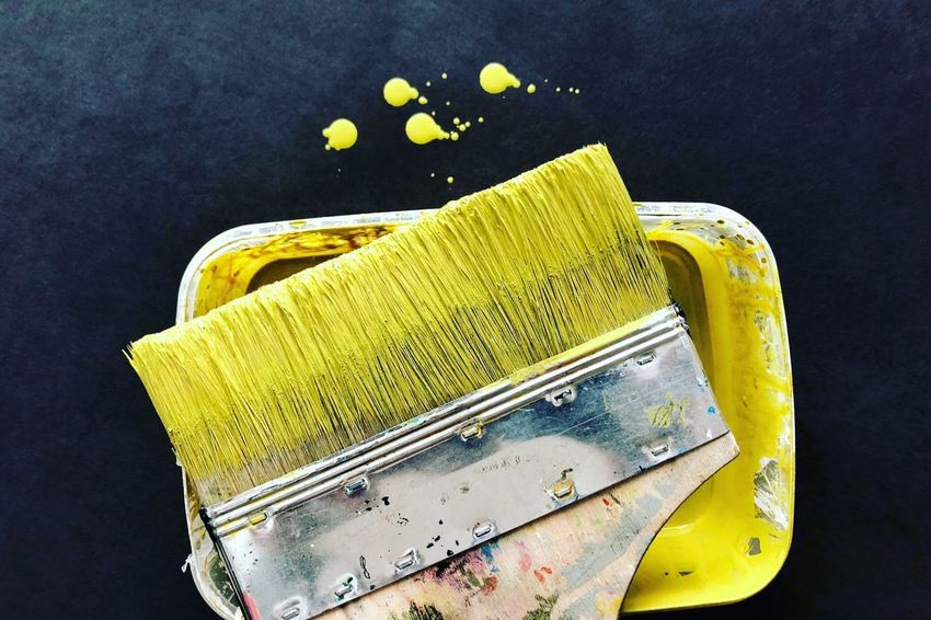 Interior Design Work Tool Working Hard Interior Painting Interior Style Yellow Brush Close-up Indoors  Still Life Paintbrush Black Background Single Object Equipment Art And Craft No People High Angle View Paint