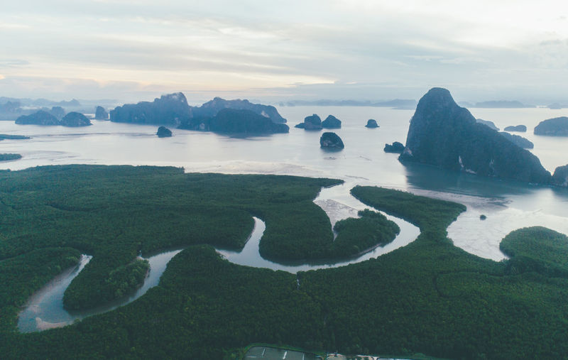 Aerial view of rock formations in sea