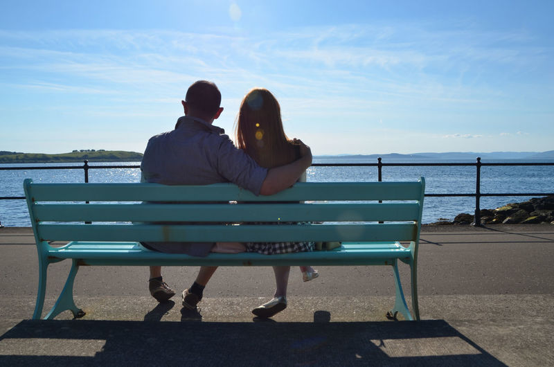 Rear view of couple sitting bench against sea