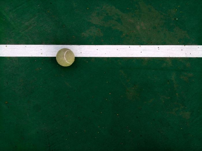 High angle view of tennis ball at paddle tennis court