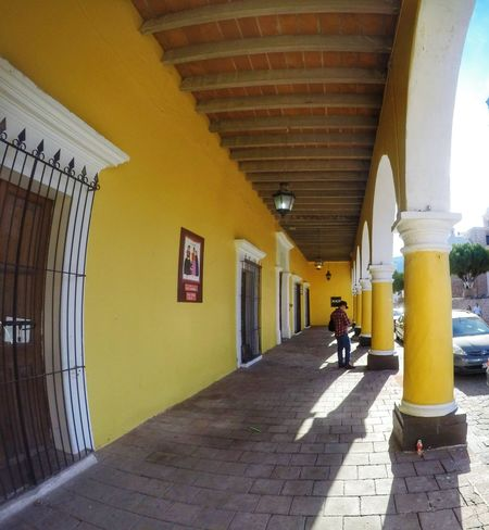 Álamos. || Architecture Day Paint The Town Yellow Yellow Yellow Color Colors Outdoors Street Gopro Goprohero4 Mexico Mexico_maravilloso Sonora One Person Colorful Landscape Wanderlust Travel Pueblomagico Town Architecture Architectural Column Columns Bright Bright Colors The Week On EyeEm Colour Your Horizn