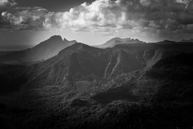Black And White Image Of Mountainrange Against Cloudy Sky Mauritius Black And White Black & White B & W  Nature Photography Travel Destination Travel Photography Copy Space Mystic Landscape Horizontal Cloud - Sky Mountain Sky Scenics - Nature Beauty In Nature Tranquility Tranquil Scene Mountain Range Environment Landscape No People Nature Non-urban Scene Idyllic Mountain Peak Remote