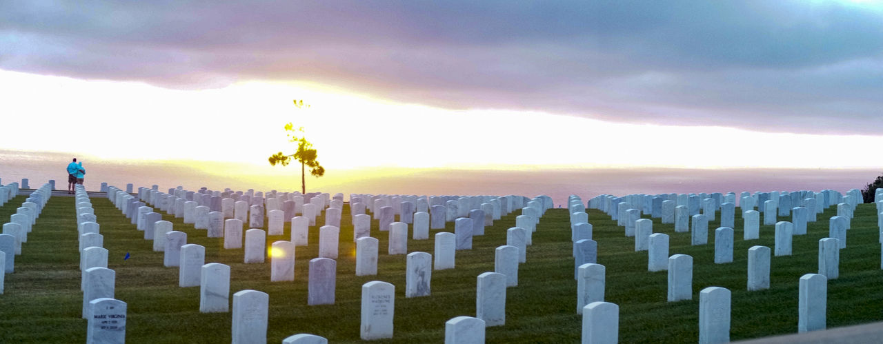 Scenic view of cemetery against sky during sunset