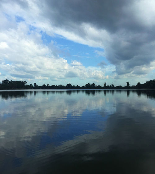 Serenity in Srah Srang Beauty In Nature Blue Sky Calm Lake Calm Water Calmness Cambodia Cloud - Sky Lake Nature Nature Photography Nature_collection No People Reflection Scenics Silhouette Sky Srah Srang Tranquil Scene Water Water Mirrors The Sky Water Reflection