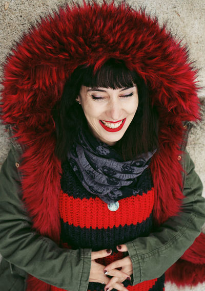 Smiling One Person Clothing Happiness Red Winter Warm Clothing Young Adult Front View Adult Women Young Women Portrait Emotion Toothy Smile Beautiful Woman Hairstyle Teeth Waist Up Scarf Hair