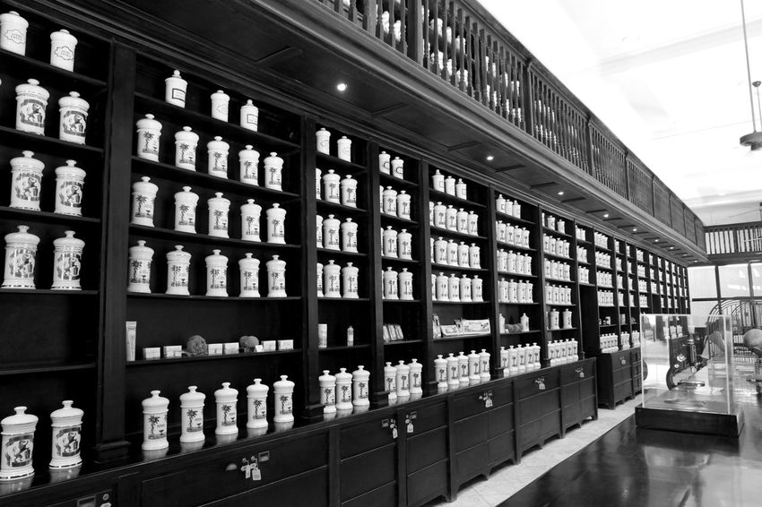 Black And White Blackandwhite Cuba Cuba Collection Drugstore Farmacia Havanna, Cuba In A Row Large Group Of Objects Side By Side Store
