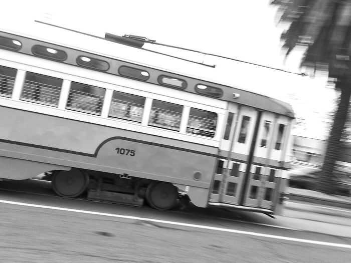 Black And White Black And White Photography Bw California Day F Line Mass Transit Mode Of Transport MUNI Outdoors Public Transportation Samsung Galaxy S III San Francisco San Francisco In Black And White SF Snapseed Street Photography Streetcar Transportation