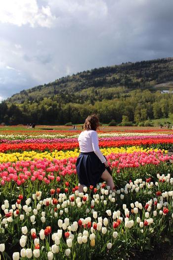 Woman walking in tulip farm against mountain
