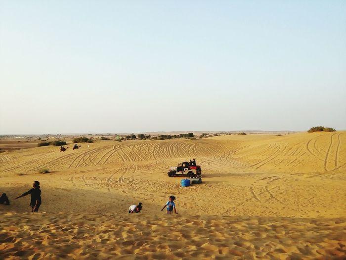 EyeEm Selects Desert Sand Sand Dune Outdoors Arid Climate Nature Clear Sky at Jaisalmer Sunset Point Sand Dunes Thar Maru Bhumi Jaisalmar,India