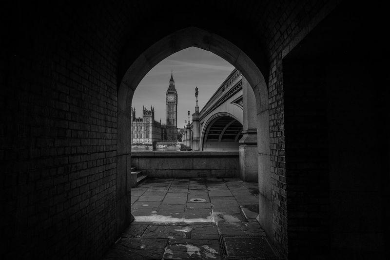 Big ben seen through arch