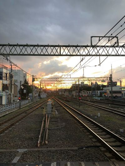 TOWARD to sunset Sky Cloud - Sky Track Railroad Track Nature Sunset Built Structure Public Transportation