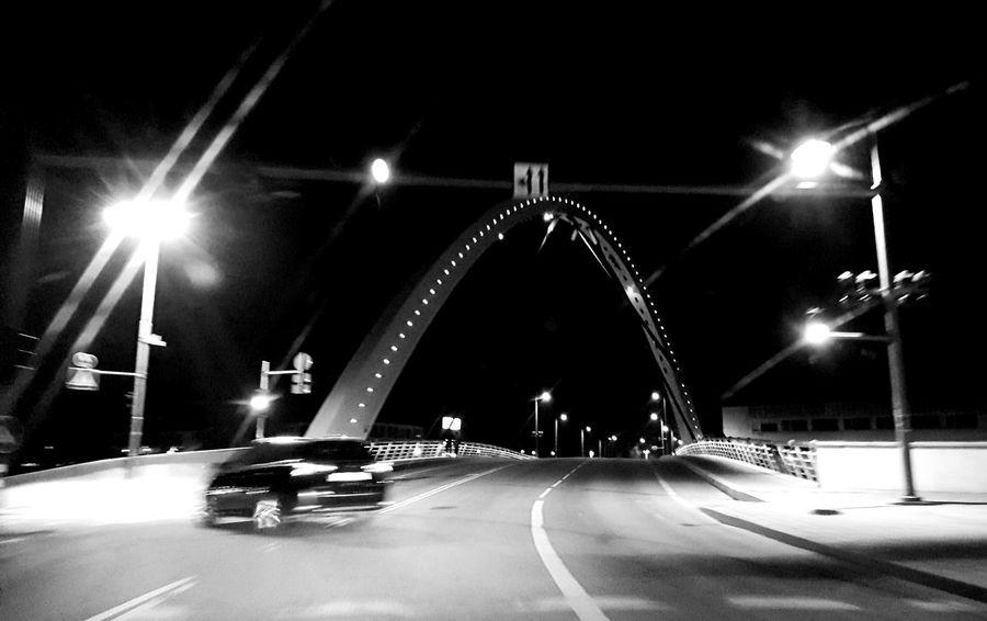 Night Illuminated Street Light Car Cold Temperature Transportation Road Outdoors City No People Blackandwhite Photography
